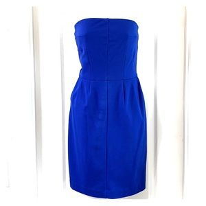 Strapless Blue Dress w/ pockets and pleats. 💙 Sm.